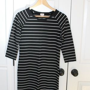 Classic Black and White Striped Dress